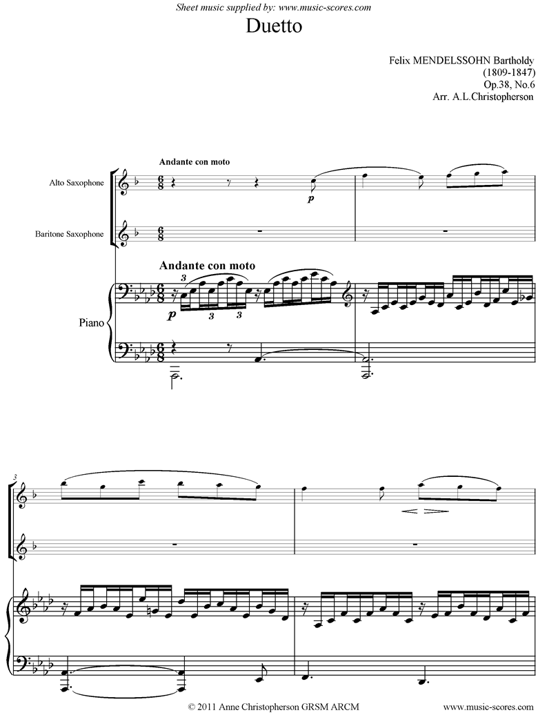 Front page of Op.38, No.6: Duetto: Song Without Words: Alto and Bari Sax sheet music