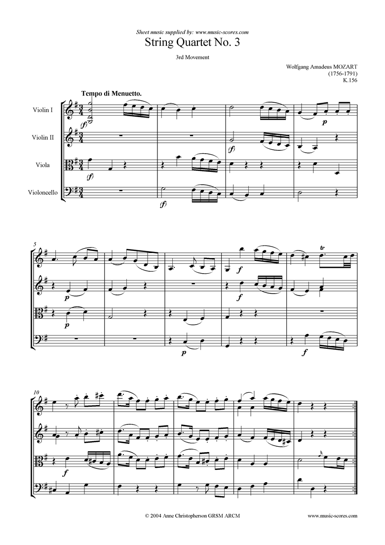 Front page of K156 String Quartet No 03: 3rd Mvt, Menuetto sheet music
