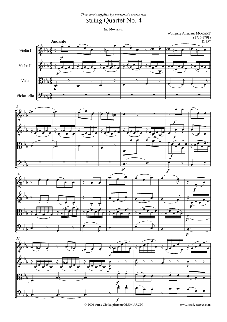 Front page of K157 String Quartet No 04: 2nd Mvt, Andante sheet music
