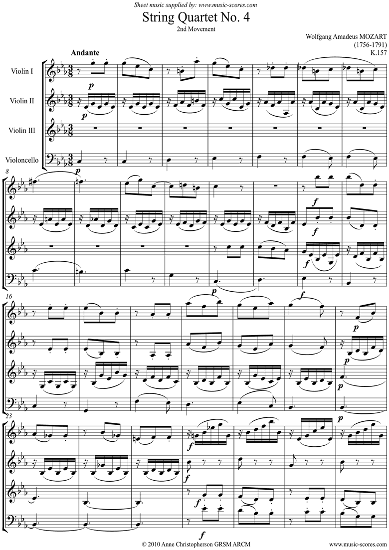 Front page of K157 Quartet No 04: 2nd Mvt, Andante: 3 vns, Cello sheet music