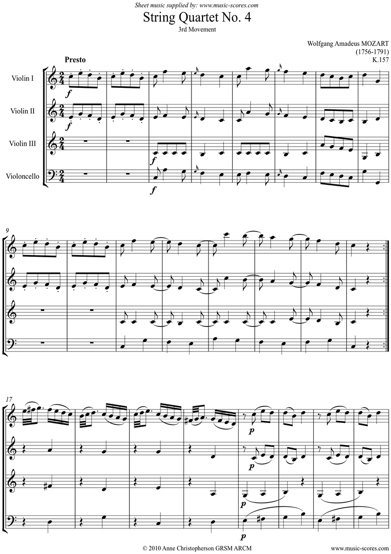 Front page of K157 Quartet No 04: 3rd Mvt, Presto: 3 vns, Cello sheet music