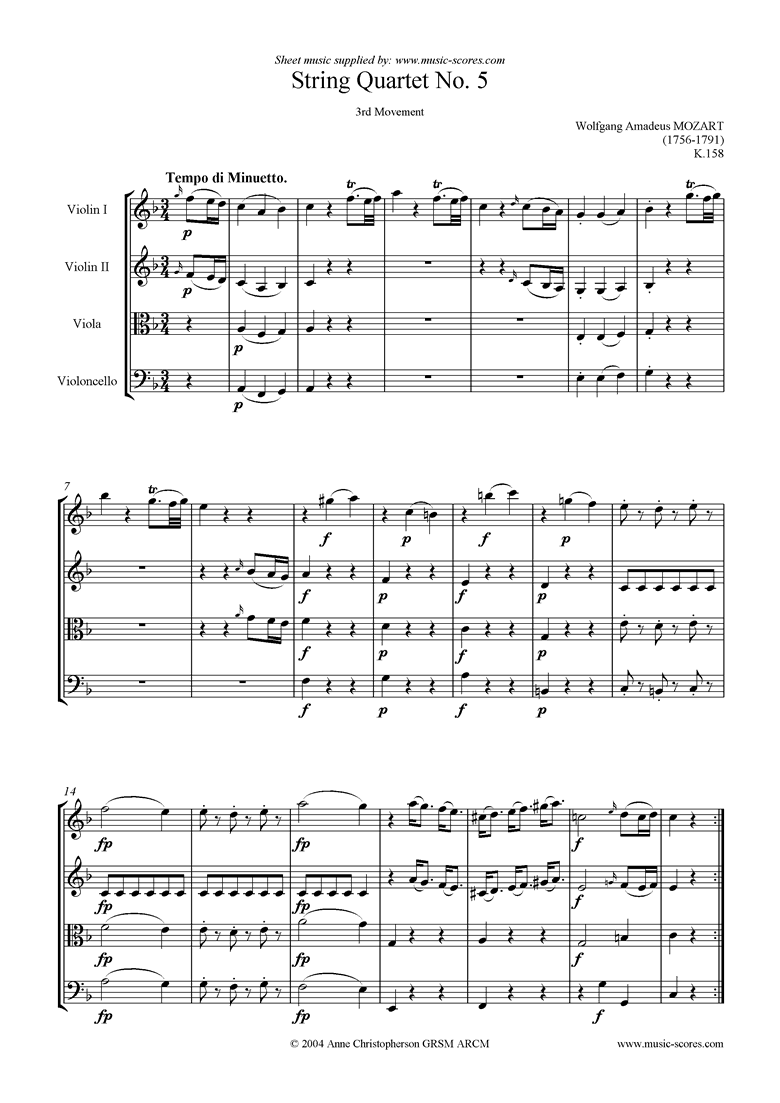 Front page of K158 String Quartet No 05: 3rd Mvt, Minuetto sheet music