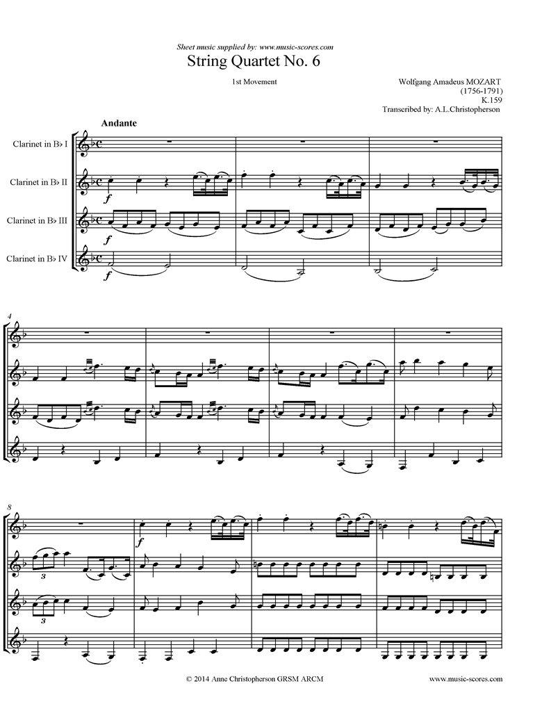 K159 Quartet No 06: 1st mvt, Andante: 4 Clarinets by Mozart