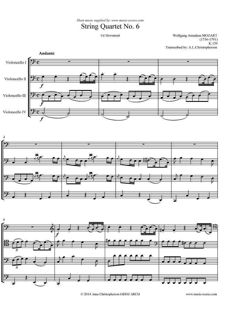 K159 Quartet No 06: 1st mvt, Andante: 4 Cellos by Mozart