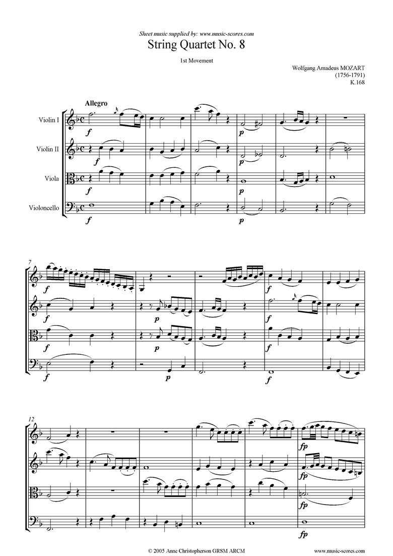Front page of K168 String Quartet No 08: 1st mvt, Allegro sheet music