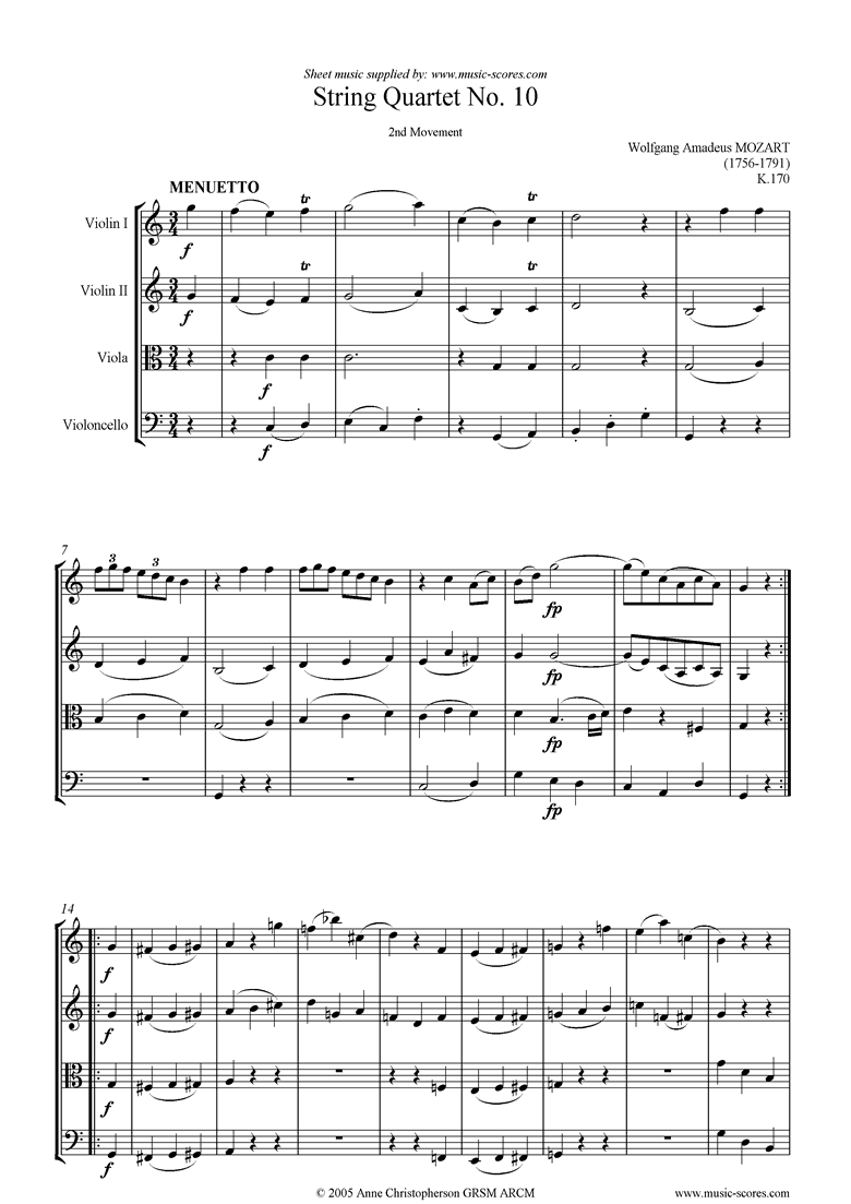 Front page of K170 String Quartet No 10: 2nd mvt, Minuet sheet music