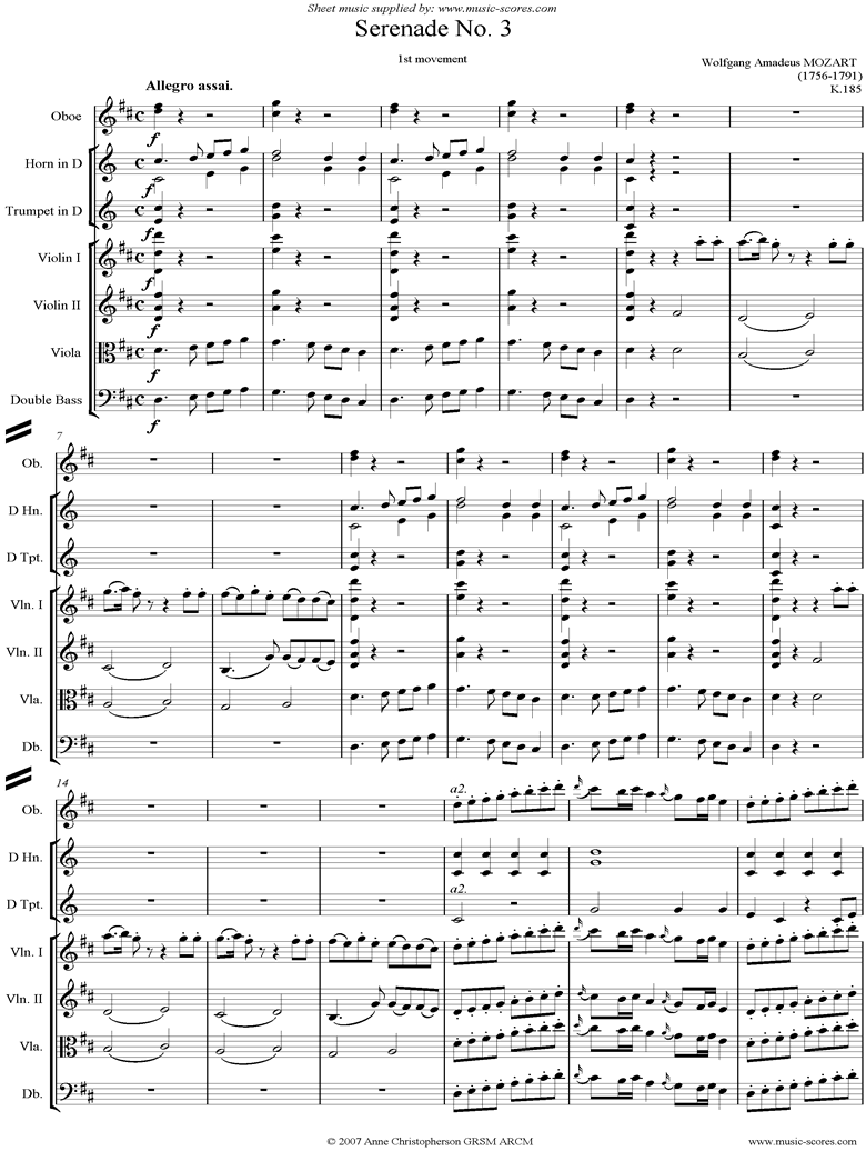 Front page of K185 Serenade No.3: 1st Mvt: Allegro assai sheet music