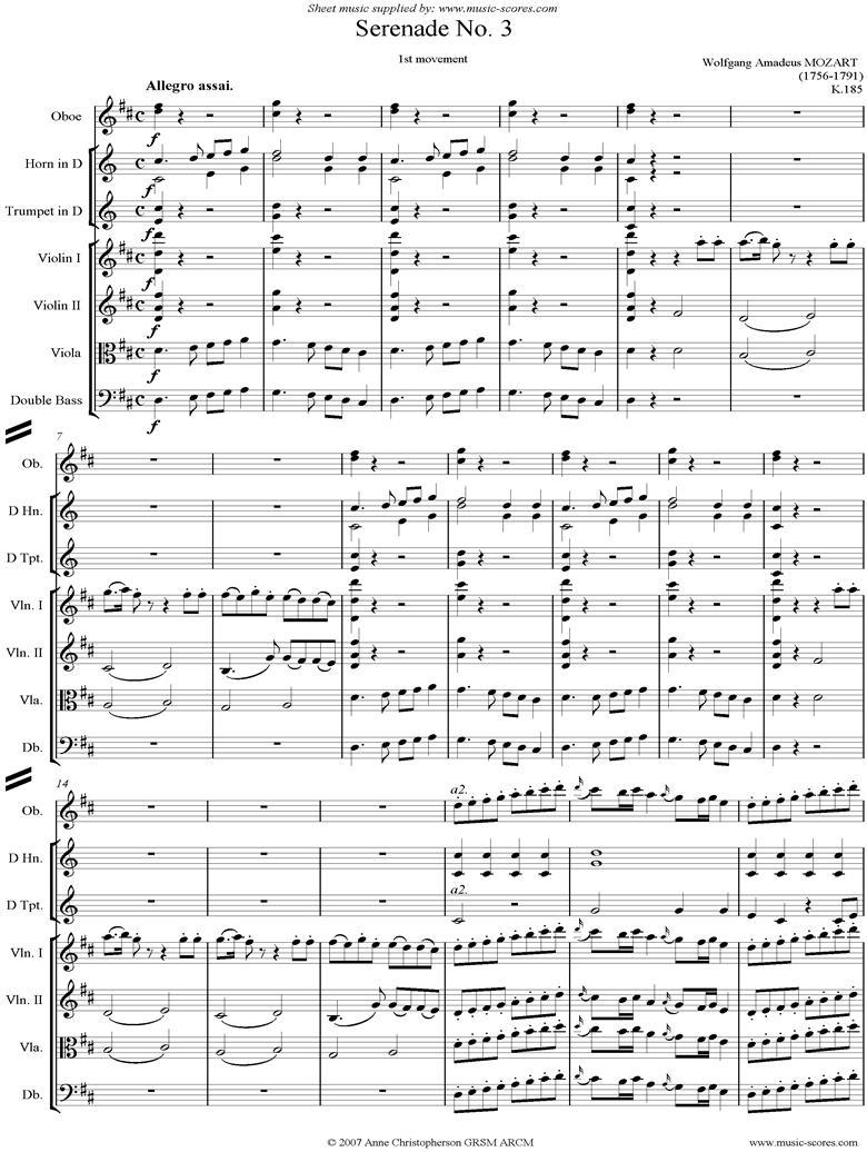 K185 Serenade No.3: 1st Mvt: Allegro assai by Mozart