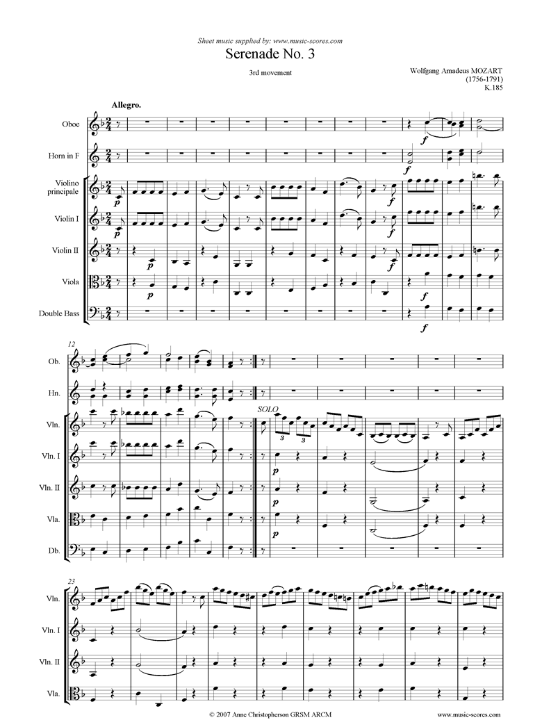 Front page of K185 Serenade No.3: 3rd Mvt: Allegro sheet music