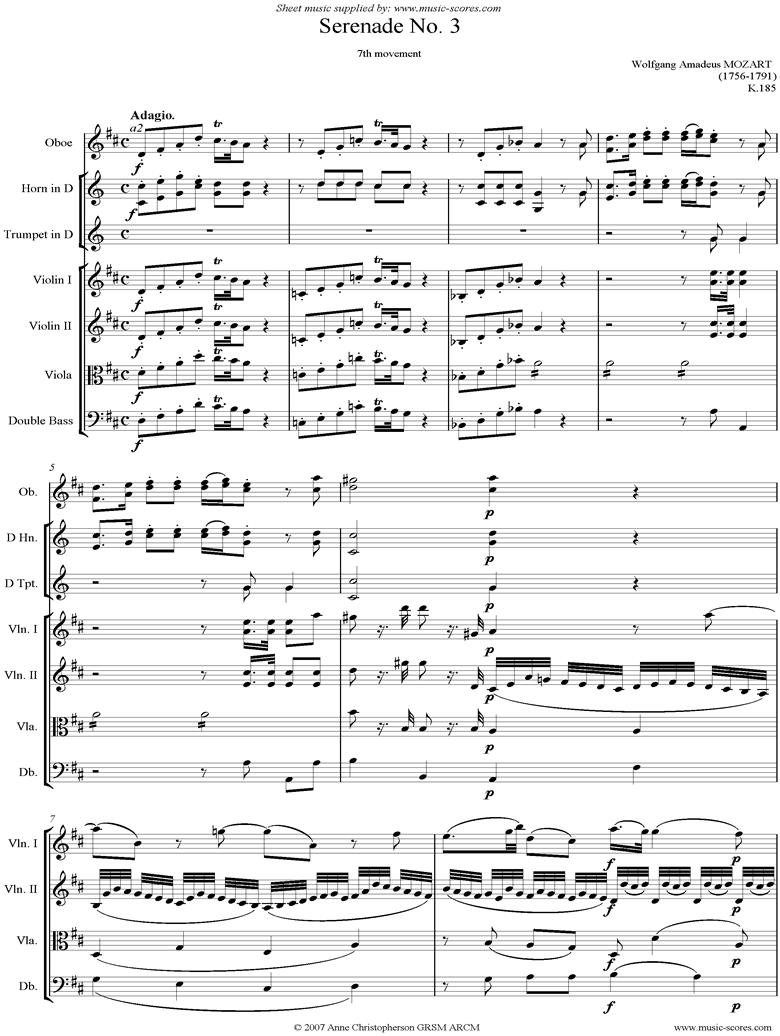 K185 Serenade No.3: 7th Mvt: Adagio_ Allegro by Mozart