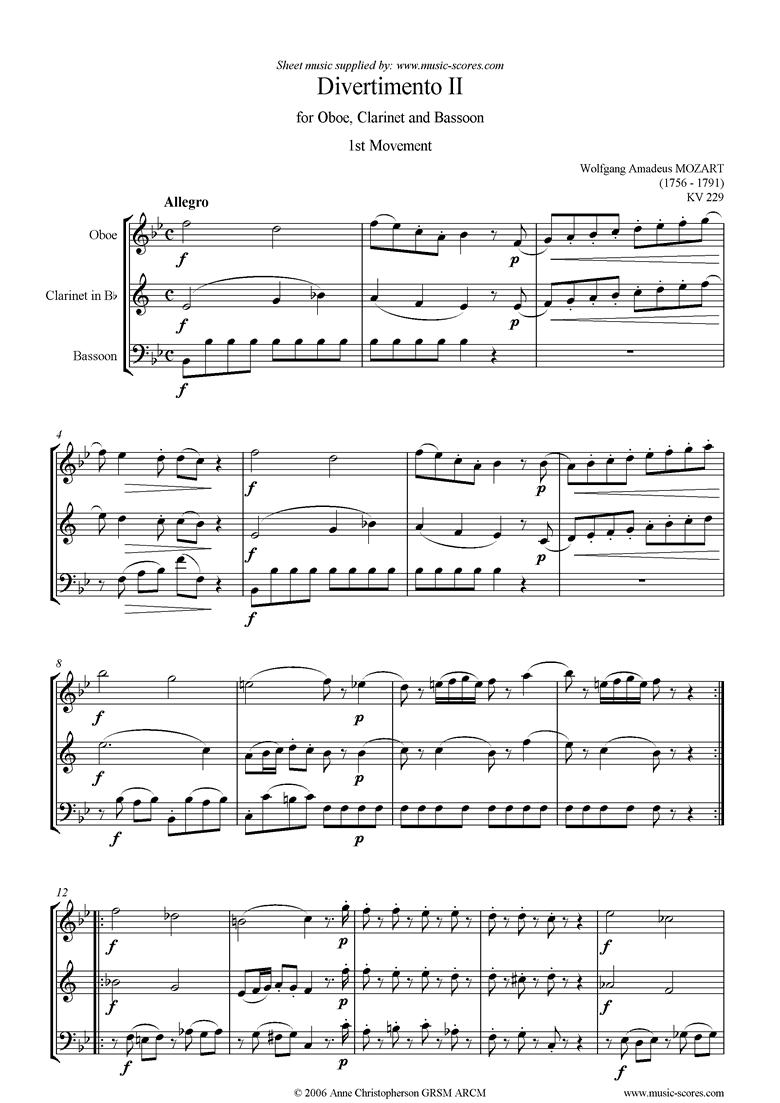 K439b, K.Anh229 Divertimento No 02: 1st mvt, Allegro: Oboe, Clarinet, Bassoon by Mozart