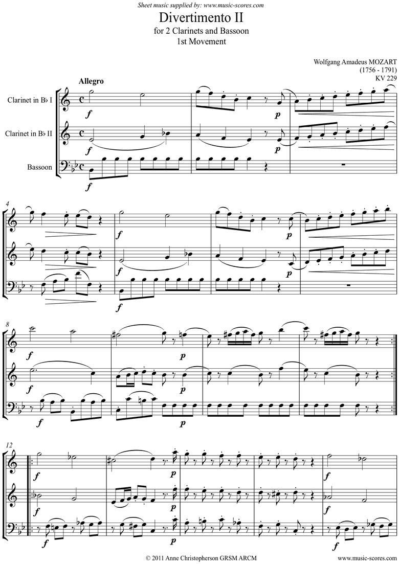 K439b, K.Anh229 Divertimento No 02: 1st mvt, Allegro: 2cls, Fg by Mozart