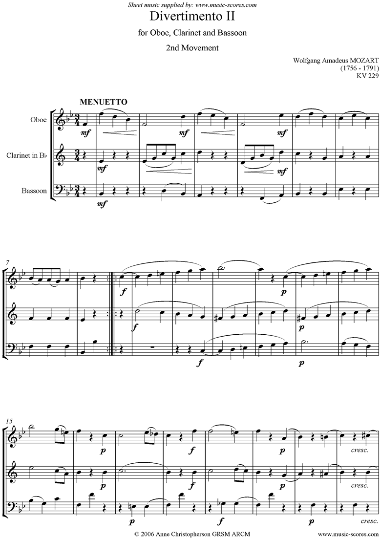 K439b, K.Anh229 Divertimento No 02: 2nd mvt, Minuet and Trio: Oboe, Clarinet, Bassoon by Mozart
