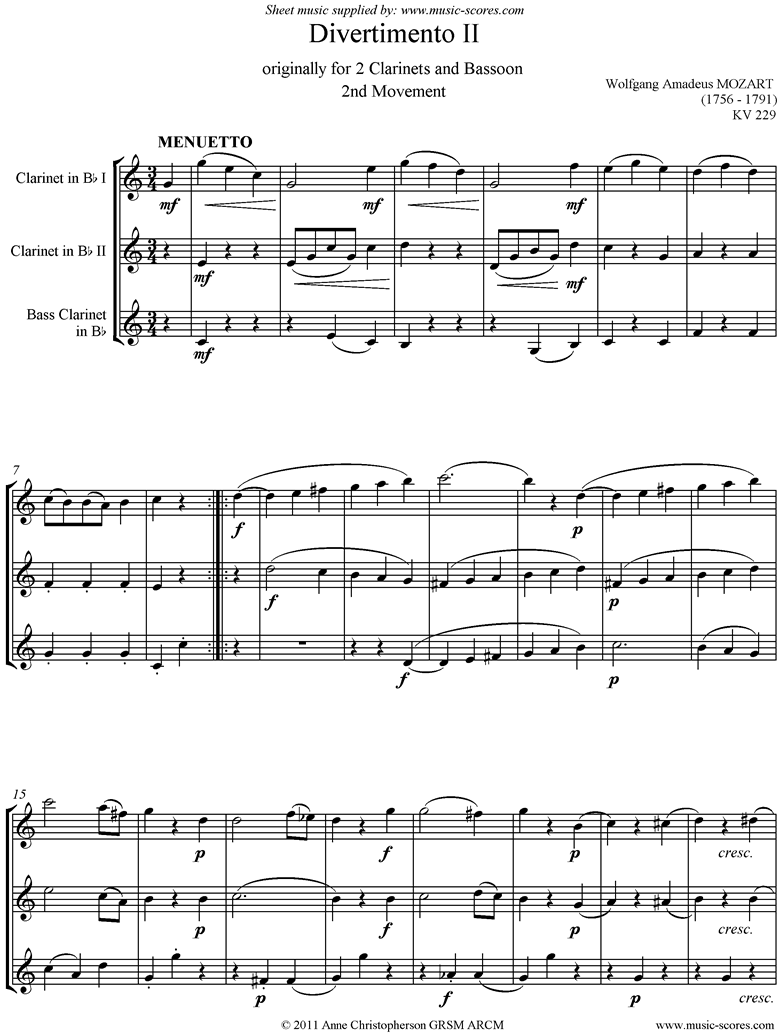Front page of K439b, K.Anh229 Divertimento No 02: 2nd mvt, Minuet 2 Clas, Bcl. sheet music