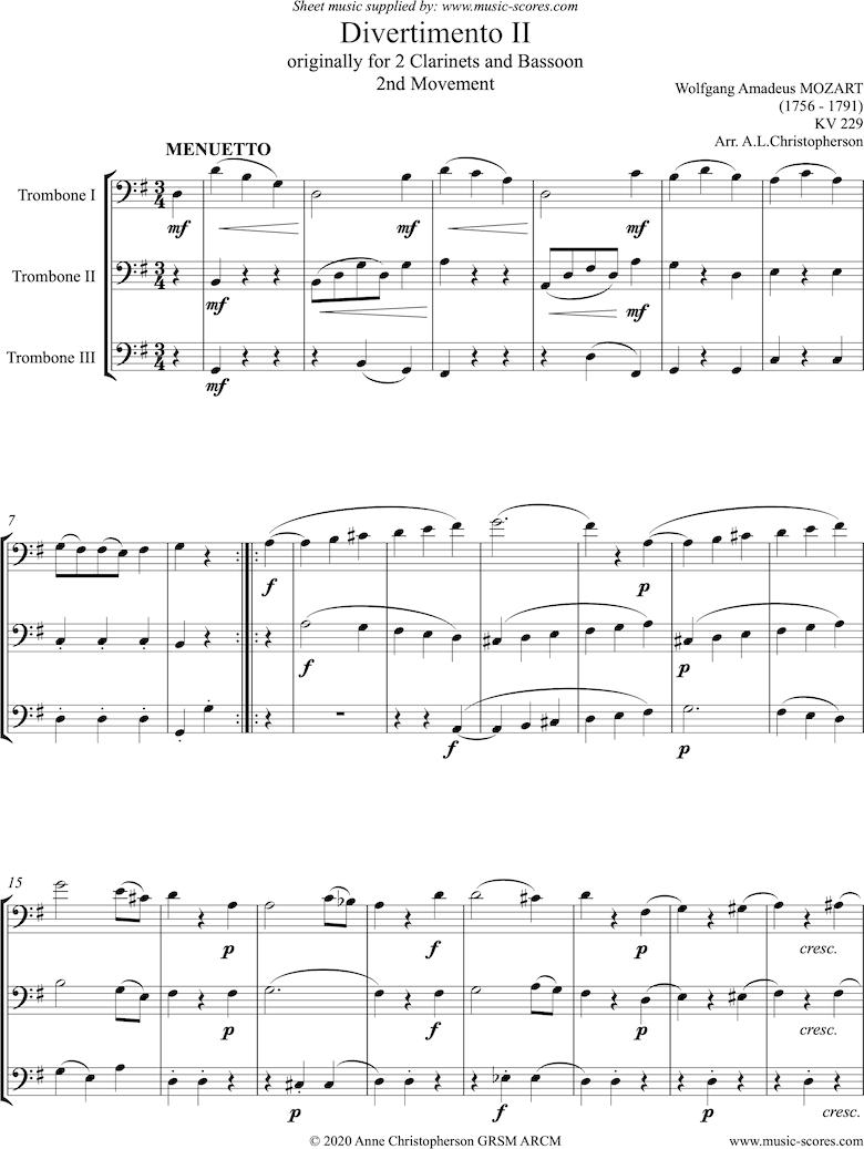 K439b, K.Anh229 Divertimento No 02: 2nd mvt, Minuet: 3 Trombones by Mozart