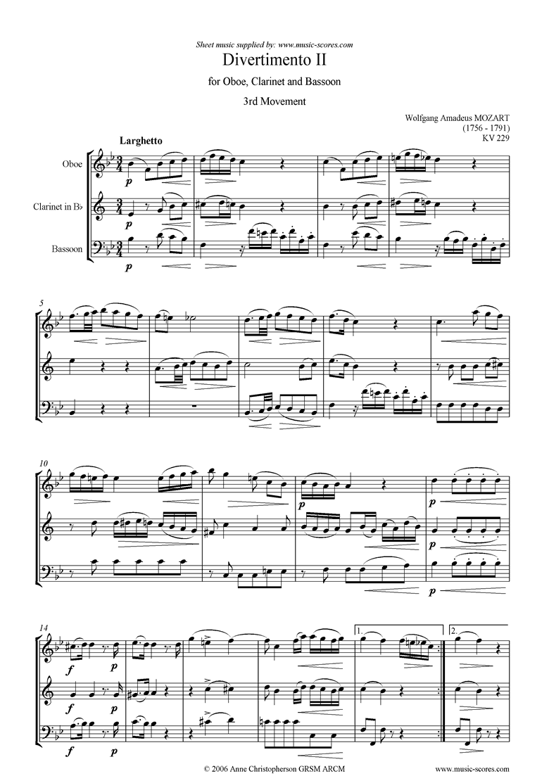 Front page of K439b, K.Anh229 Divertimento No 02: 3rd mvt, Larghetto: Oboe, Clarinet, Bassoon sheet music