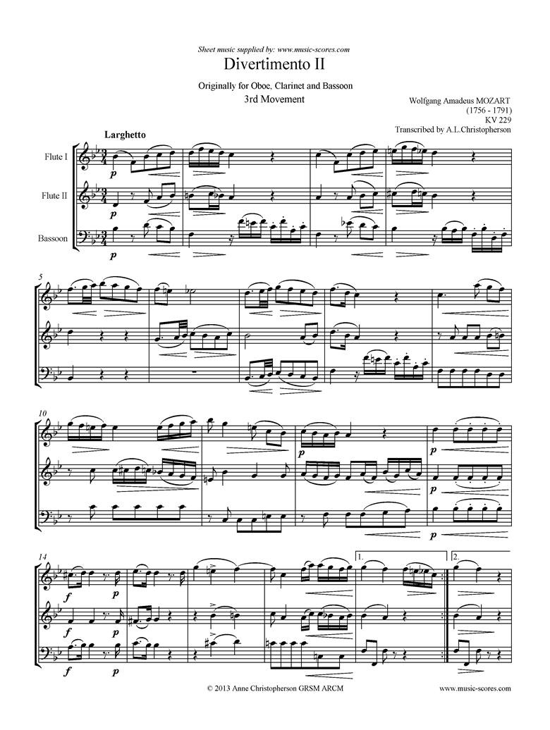 Front page of K439b, K.Anh229 Divertimento No 02: 3rd mvt, Larghetto: 2 Fls, Fg sheet music