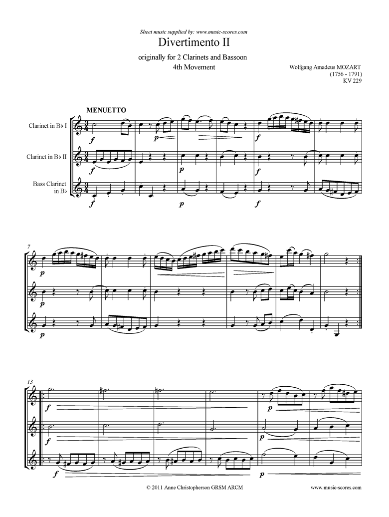 K439b, K.Anh229 Divertimento No 02: 4th mvt, Minuet and Trio: 2 Cls, Bcl by Mozart