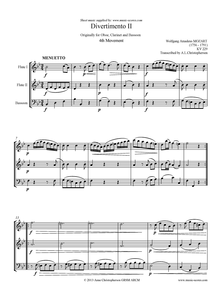 Front page of K439b, K.Anh229 Divertimento No 02: 4th mvt, Minuet and Trio: 2 Fls, Fg sheet music