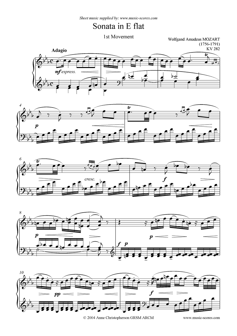 Front page of K282 Sonata in Eb, 1st Movement Adagio sheet music