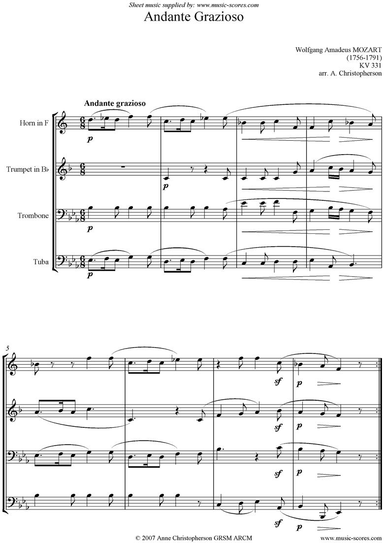 K331 Andante Grazioso: Brass Quartet by Mozart