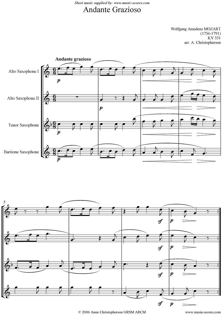 Front page of K331 Andante Grazioso: Sax Quartet sheet music