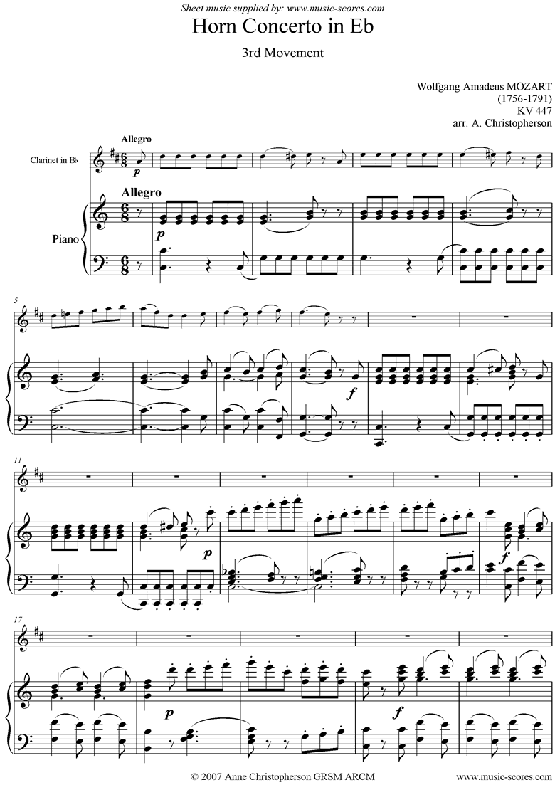 Front page of K447 Horn Concerto: 3rd mvt: Clarinet sheet music
