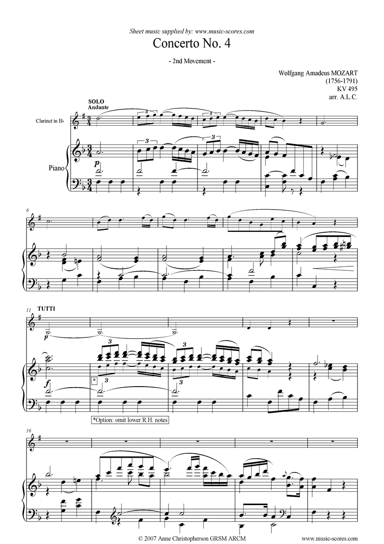 K495 Horn Concerto in Eb, 2nd Movement: Clarinet by Mozart