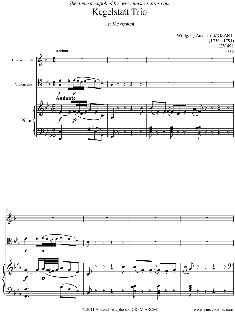Front page of K498 Kegelstatt Trio: 1st mvt:  Clarinet, high Cello, Piano sheet music
