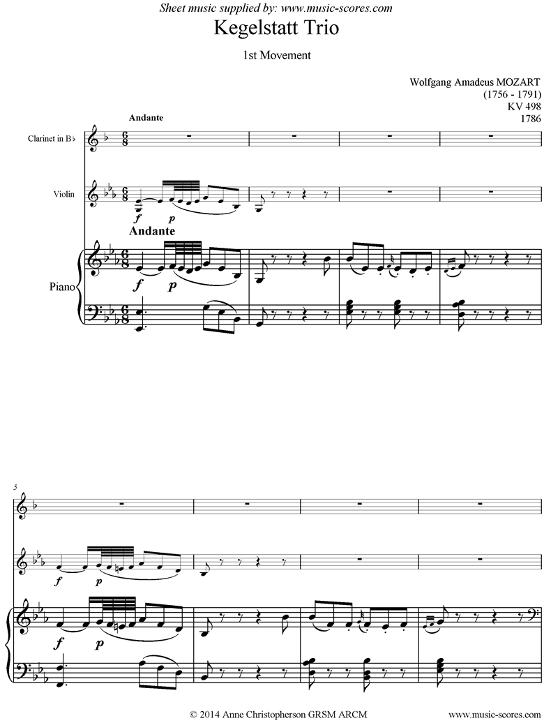Front page of K498 Kegelstatt Trio: 1st mvt:  Clarinet, Violin, Piano sheet music
