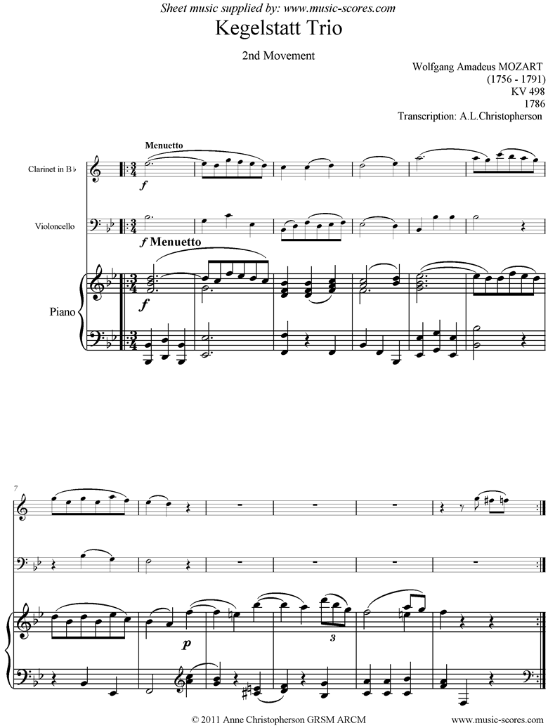 Front page of K498 Kegelstatt Trio: 2nd mvt:  Clarinet, low Cello, Piano sheet music