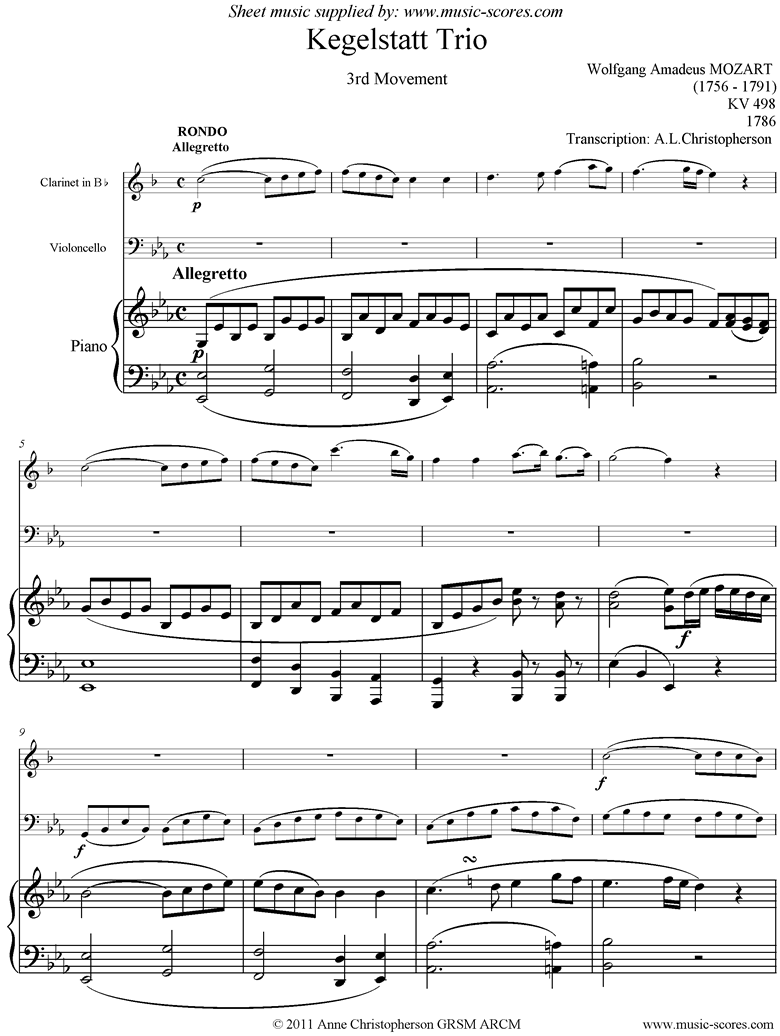 Front page of K498 Kegelstatt Trio: 3rd mvt:  Clarinet, low Cello, Piano sheet music