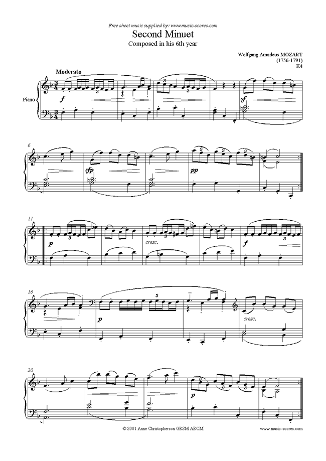 Front page of K004 Minuet No. 2 in F sheet music