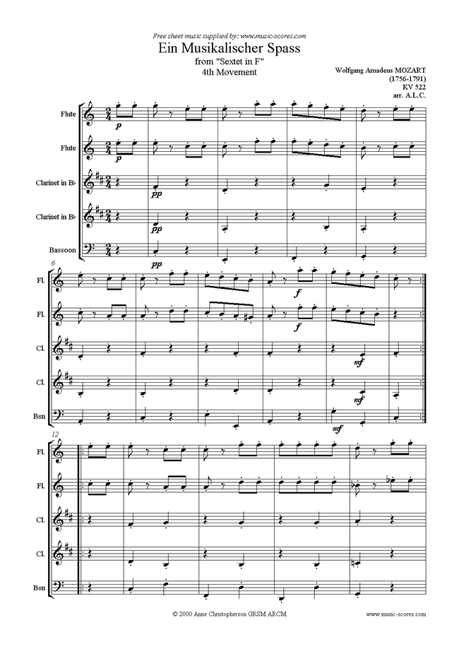 Front page of K522 Ein Musikalischer Spass: wind 5 sheet music