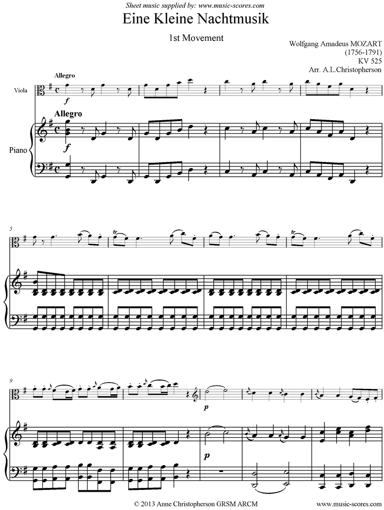 Front page of K525 Eine Kleine Nacht Musik: 1st movement: Viola, Piano sheet music