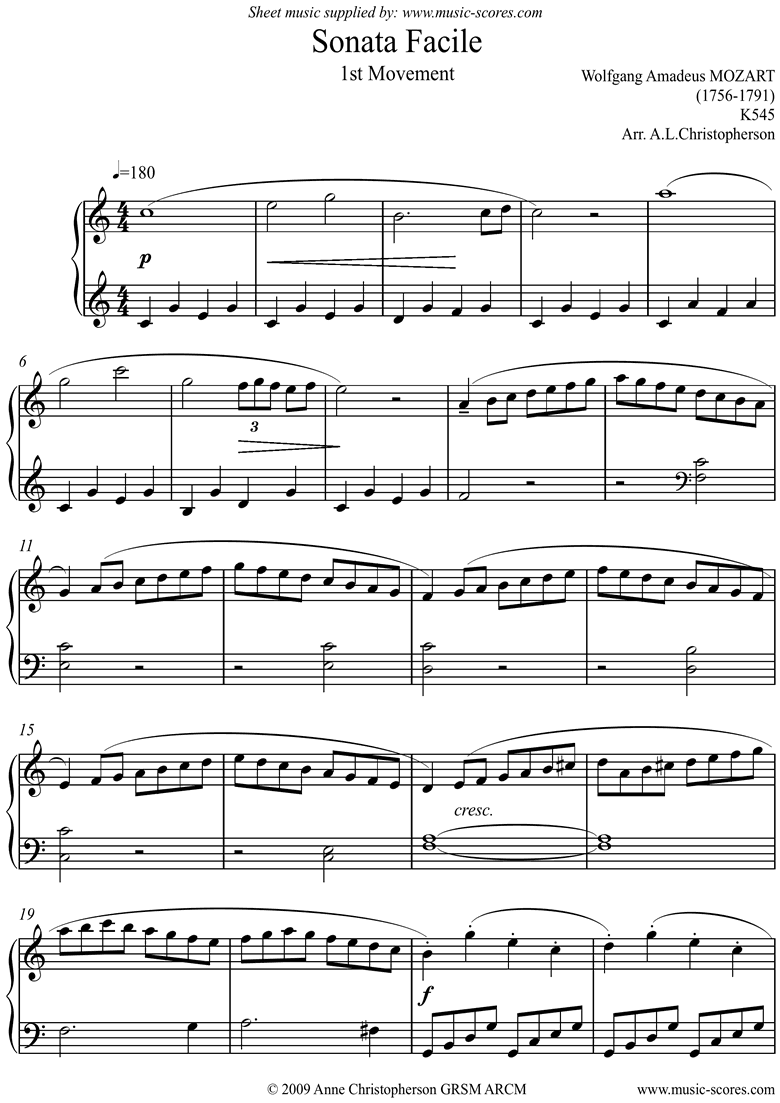 Front page of K545 Sonata Facile, 1st Movement: Easy sheet music