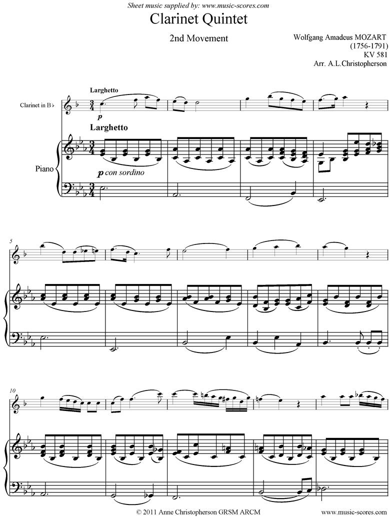 K581 Clarinet Quintet, 2nd Mt Clarinet, Piano by Mozart
