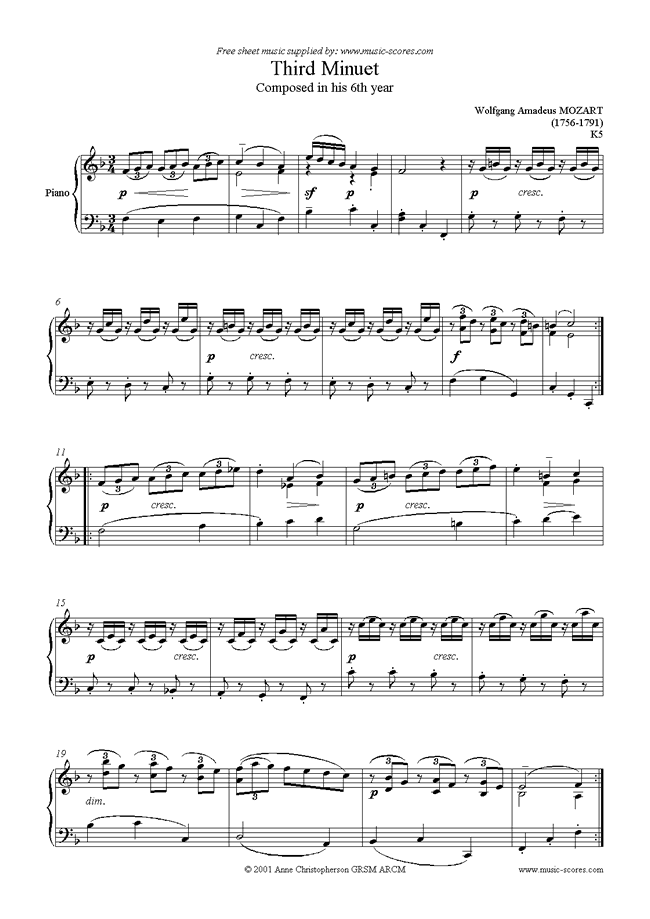 Front page of K005 Minuet No. 3 in F sheet music