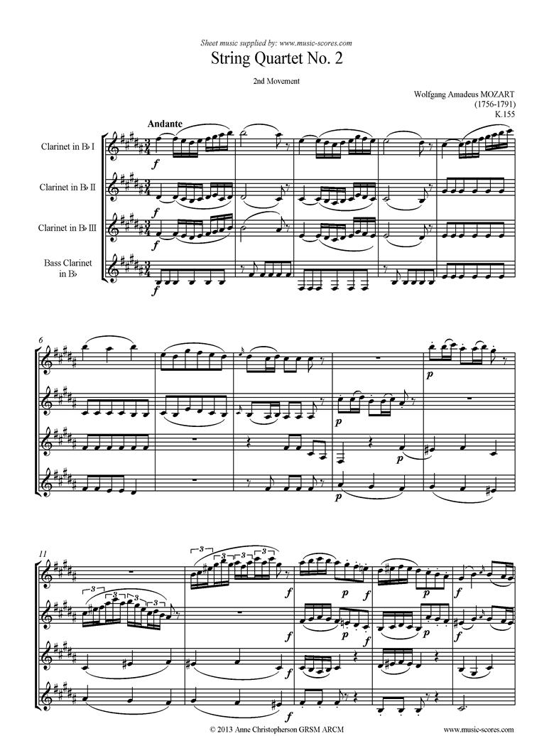 K155 String Quartet No 02: 2nd Mvt, Andante: 3 Clarinets, Bass Clarinet by Mozart