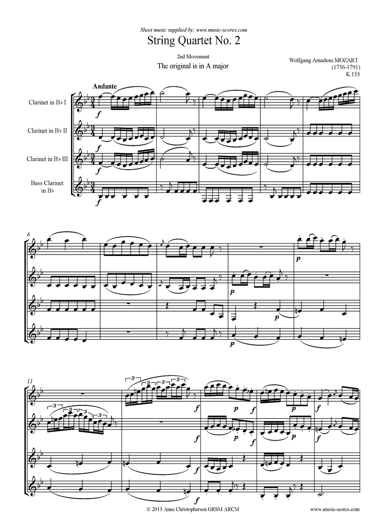 Front page of K155 String Quartet No 02: 2nd Mvt, Andante: 3 Clarinets, Bass Clarinet:lower sheet music