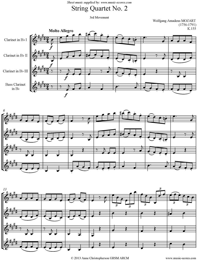 K155 String Quartet No 02: 3rd Mvt, Molto Allegro. 3 Clarinets, Bass Clarinet by Mozart