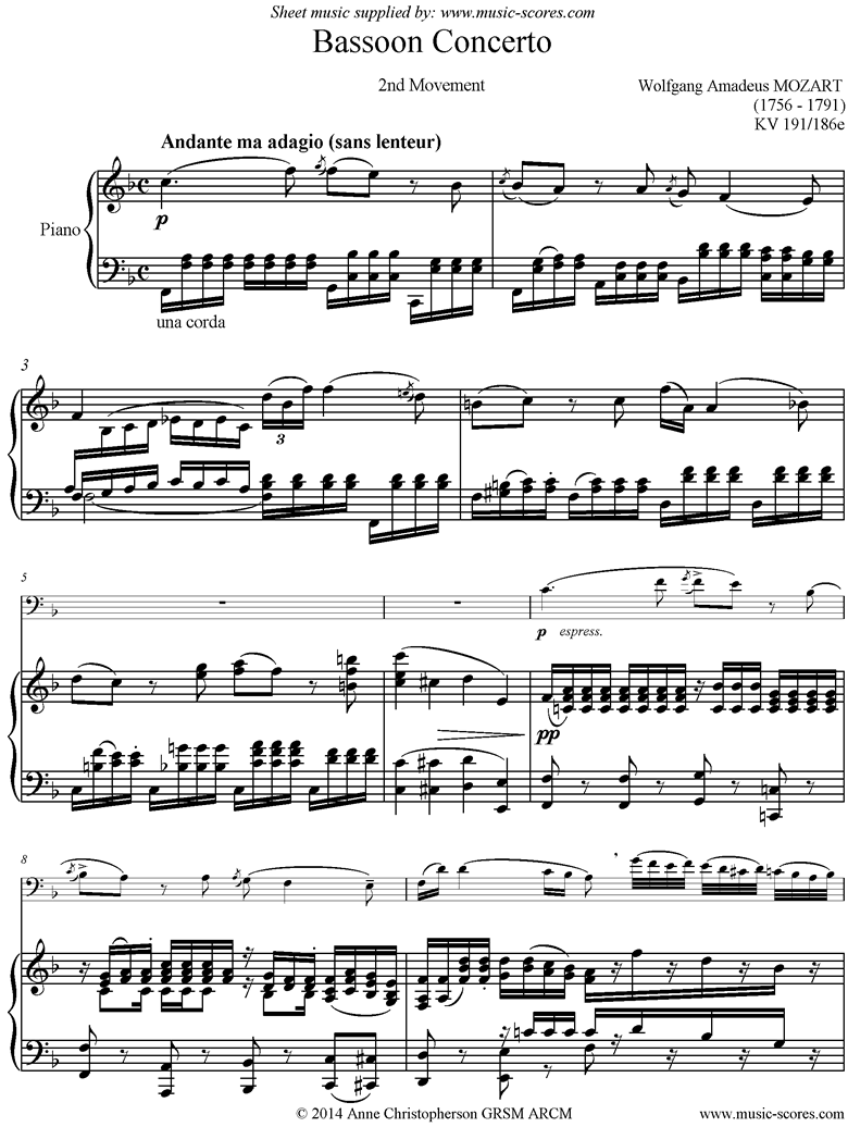 Front page of K191 Bassoon Concerto: 2nd Mt sheet music