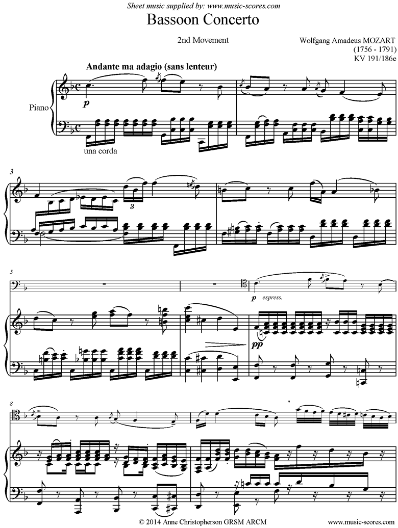 Front page of K191 Bassoon Concerto: 2nd Mt: Cello sheet music
