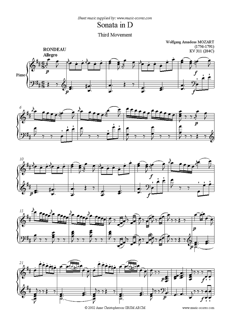 Front page of K311 (284C) Sonata in D, 3rd Movement sheet music