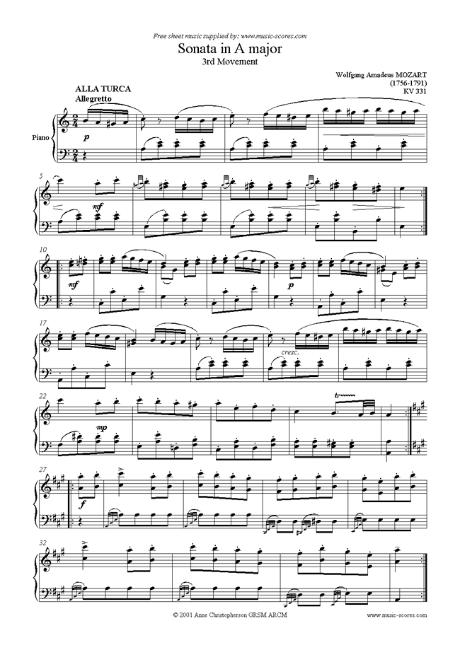 Front page of K331 Sonata in A, 3rd Movement: Alla Turca sheet music