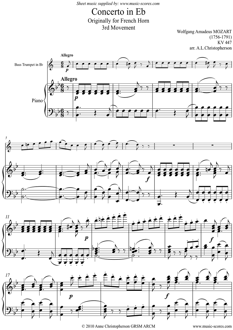 Front page of K447 Horn Concerto No.3, 3rd mt: Allegro: Bass Tpt sheet music