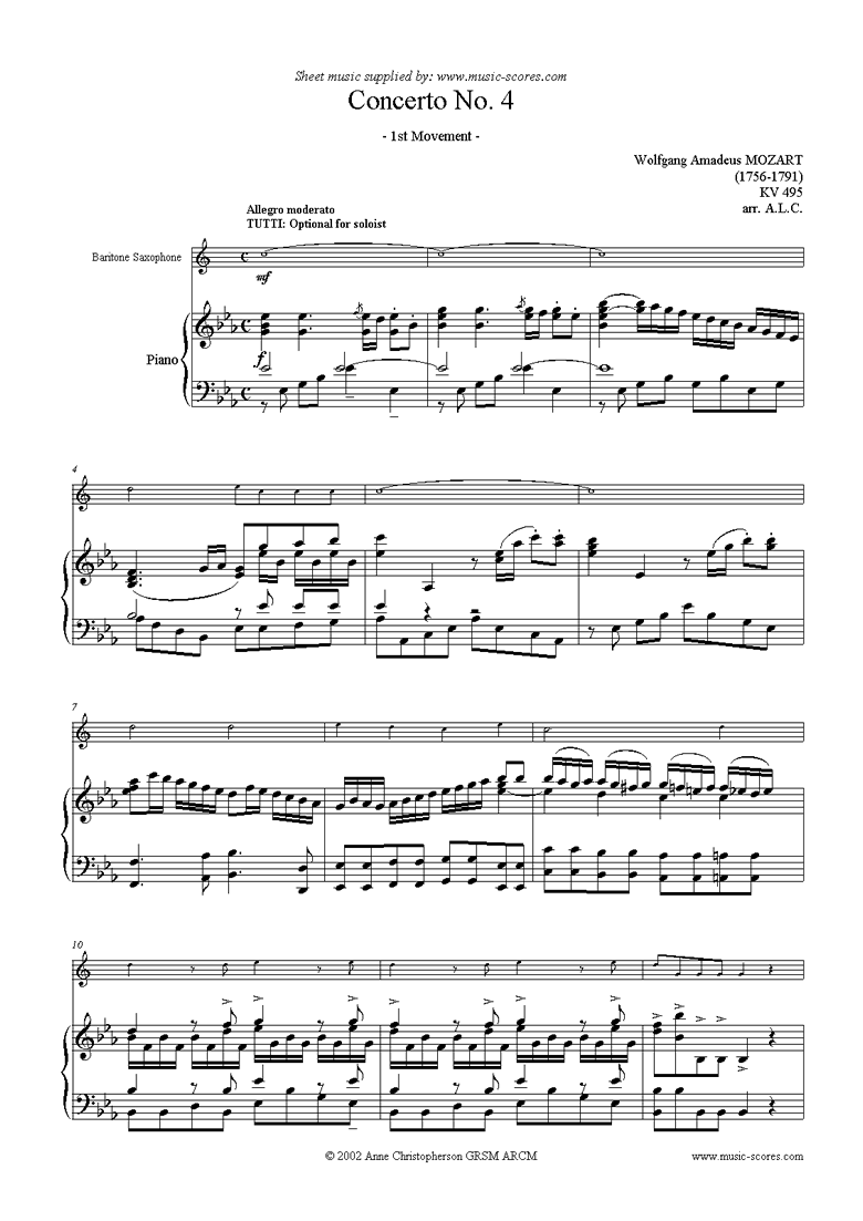 Front page of K495 Horn Concerto in Eb, 1st Movement: Bari Sax sheet music