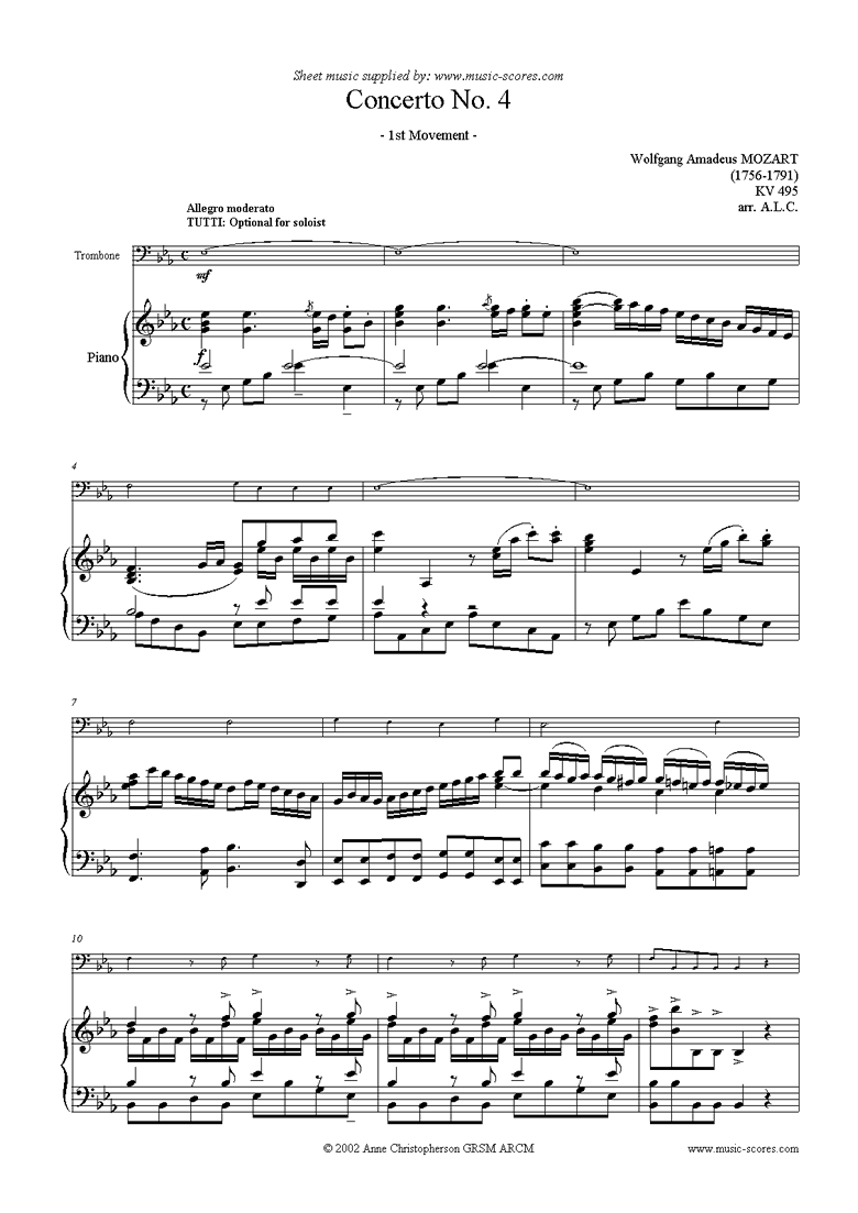 Front page of K495 Horn Concerto in Eb, 1st Movement: Trombone sheet music