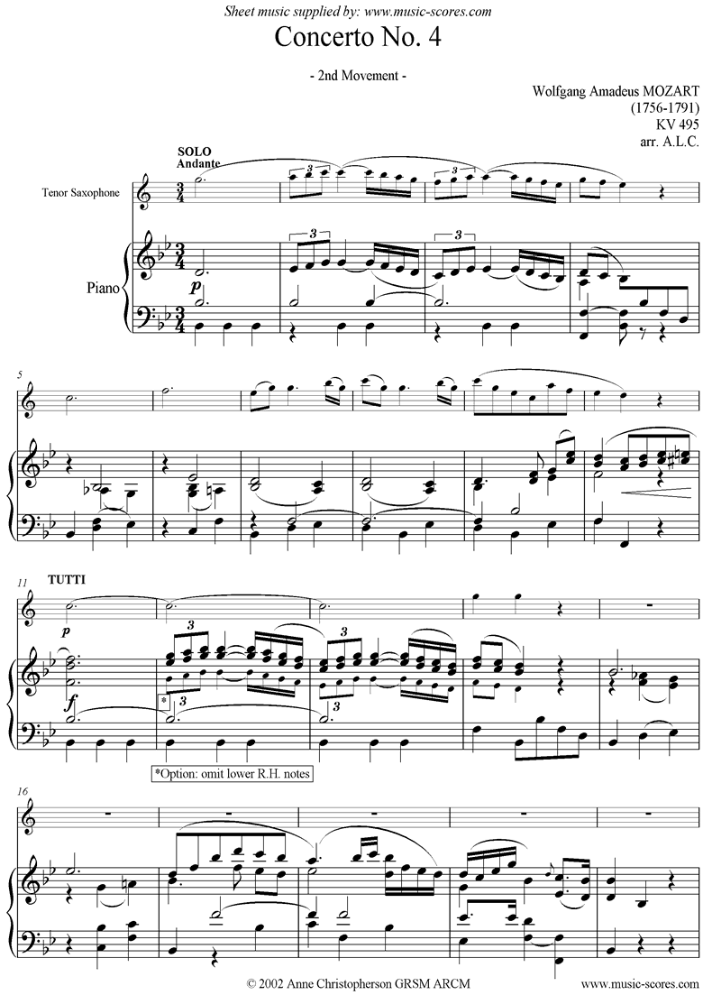 Front page of K495 Horn Concerto in Eb, 2nd Movement: Tenor Sax sheet music