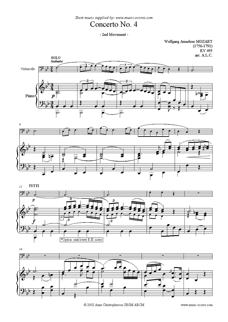 Front page of K495 Horn Concerto in Eb, 2nd Movement: Cello sheet music